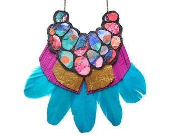 Turquoise Feather Statement Necklace, Gemstone Pattern Circle Necklace, Geometric Necklace, Fuchsia Gold Fringe Necklace, Geometric Jewelry
