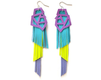 Neon Geometric Earrings, Purple and Neon Yellow Fringe Earrings, Triangle Earrings, Long Turquoise Leather Earrings, Geometric Jewelry