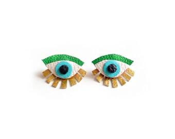 Eye Ear Jacket Earring, Seeing Eye Geometric Post Stud Earrings, Seeing Eye Studs, Eye Jewelry, Green and Gold Earrings, Statement Earrings