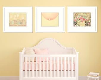 nursery art, baby girl room decor, set of 3 photos, pink and yellow art, nursery ideas, girl wall art photos, toddler girl room, pink art