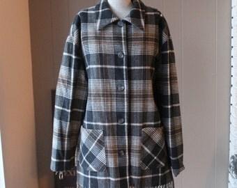 70s Plaid Wool Western Jacket with Fringe Country Girl Plaid Jacket Soft non itch Gray Tan Stadium Jacket