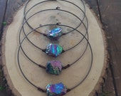 Rainbow Quartz Crystal Choker Necklace/ Collar Necklace/ Festival Jewelry/ Titanium Quartz/ Crystal Choker/ Brass Collar/ Natural Gem Stone