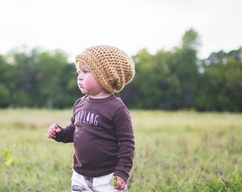 Yellow Slouch Beanie for Kids, Crochet Hats, Gender Neutral Hat, Slouchy Hipster Hat, 12 Months - 4T (Morgan)