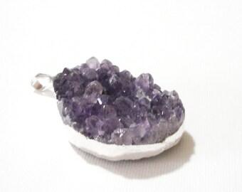 Amethyst Druzy Pendant - Purple Crystal Druzy - Edged Silver Gemstone - Rough Surface Amethyst Necklace - February Birthstone - Diy Jewelry