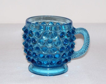 Blue Hobnail Glass Mug - Child's Cup (1761)