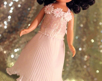 White Shimmer Dress for Lati Yellow & Other Approx 16 cm Dolls