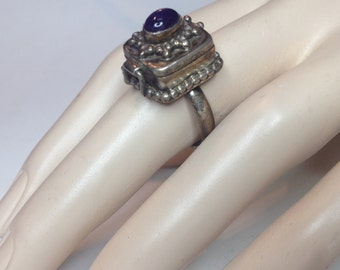 Sterling Silver Amethyst Poison Ring Size 8 – Vintage Boho Jewelry