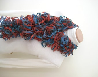 Frilly Scarf - Burgundy, Brown, Blue, Green Long Scarflette Neck Tissue Neckwarmer Foulard - Winter Fashion - Gift for Her - READY TO SHIP