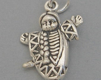 Sterling Silver 925 Charm Pendant 3D PAPOOSE Native American Indian Child 2781