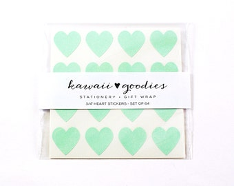 64 Pistachio Green heart stickers  - 3/4 inch mini pastel green stickers - FREE SHIPPING