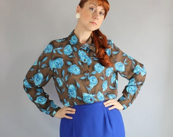 SALE - Vintage 80s does 40s Brown Blue Roses Print Office Blouse
