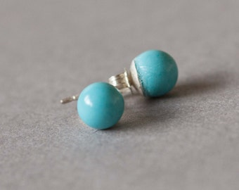 6mm Turquoise and sterling silver stud earrings, turquoise post earrings.