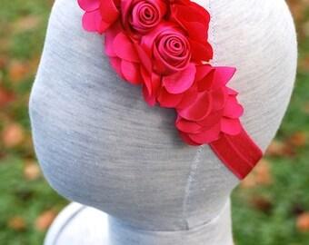 Hot Pink Rosette Cluster Elastic Headband