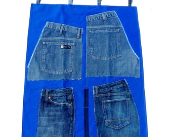 Denim Wall Organizer, Office Decor, Pocket Organiser, Cobalt Blue Storage, Eco-Friendly Dorm Room, Organisation Childrens Room Toy Storage