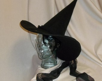 Wizard of Oz Wicked Witch of the West Hat- Black Felt Hat with Wired Brim and Long Veil