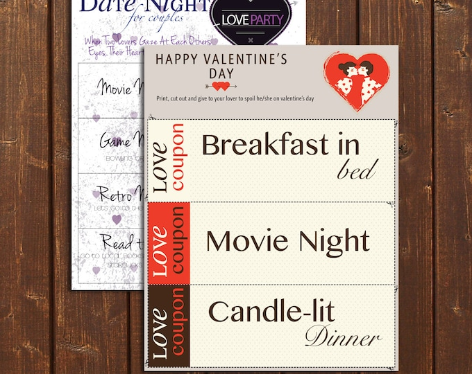 Love Package |Love Coupon | Date Night Ideas | Printable | Instant download | Valentine's day