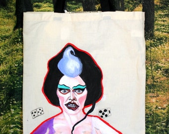 Forbidden Zone / Sixth Dimension / Queen Doris / Hand-Painted Tote Bag
