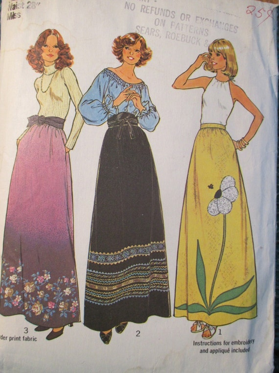 simplicity 7190 vintage 1970 s maxi skirt by