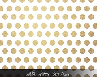 Golden Glitter Dots - Single Digital and Printable Paper
