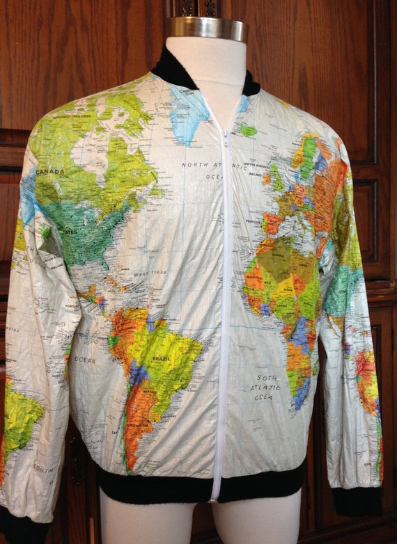 Vintage Wearin the World Travel Hipster Map Jacket 1980s