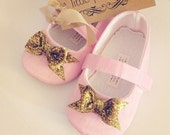 Baby Girl Shoes Toddler Girl Shoes Infant Shoes Soft Soled Shoes Wedding Shoes Flower Girl Shoes Pink Glitter Shoes Gold Bow Shoes - Belle