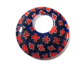 40mm Millefiori Donut Pendant Millefiori FLOWERS Cobalt Blue Red Glass Donut Pendant 40mm Large Glass Focal Jewelry Supplies (N24)