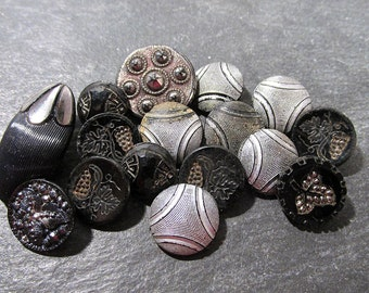 Assorted Black Glass Buttons VINTAGE Buttons Silver Luster Sixteen (16) Buttons Flowers Vintage Wedding Supplies Vintage Buttons (D2)
