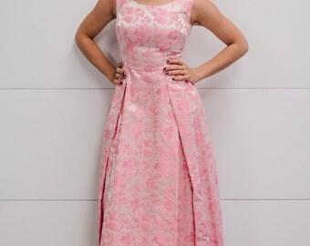 Vintage 1960's Tri-Tone Pink Floral Silk Brocade Romantic Gown