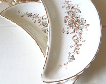 Vintage China Bone Dishes Brown & Blue Floral - Set of Two