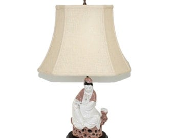 Asian Figure Pottery Lamp 1940s Hollywood Regency