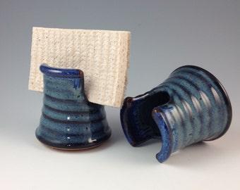 Sponge Holder - Handmade Stoneware in Denim Blue