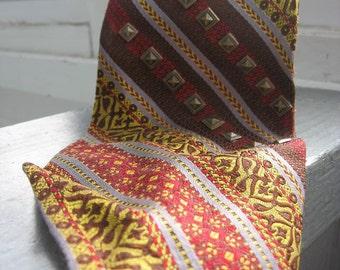 The Choice Employer - Vintage 1970s mens tie necktie, striped, heraldry print, studded by Sergio & Bernardi