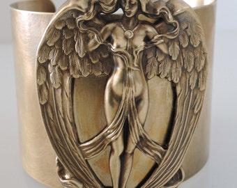Vintage Bracelet - Art Nouveau Bracelet - Angel Jewelry - Statement Bracelet - Wide Cuff - Vintage Brass- Cuff Bracelet - Handmade Jewelry
