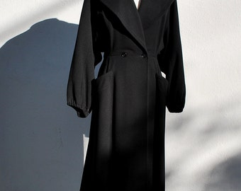 Vintage 40's coat Long pleated dress coat with back square tail overcoat fitted from I . Magnim sM by thekaliman