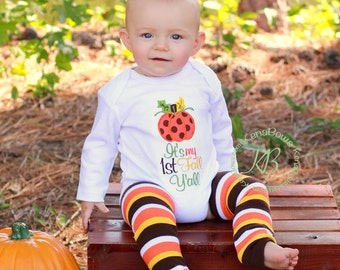 1st Thanksgiving Embroidered Pumpkin Shirt, Baby Boy, Baby Girl, 1st Pumpkin Bodysuit, 1st Fall Y'all, Fall Baby Leg Warmers