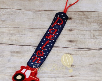 Tractor Pacifier Clip: Baby Boy, Baby Girl, Personalized Binky Holder, Universal Paci Clip, Red, Navy Blue