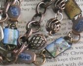 repurposed vintage enamel pictures copper links charm bracelet~assemblage jewelry-mixed metal-multistrand bracelet