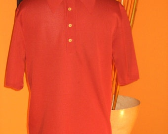 60's Original Mens Burnt Orange Knit Collar Shirt