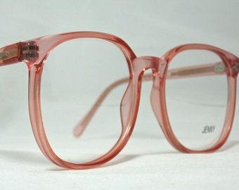 vintage 80s large square horn rim eyeglass frames pink translucent