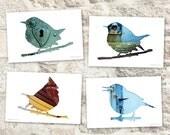 bird postcard set, animal postcards, set of 4, bird silhouette art, whimsical animal art, teal, blue, turquoise, woodland decor tit bird art
