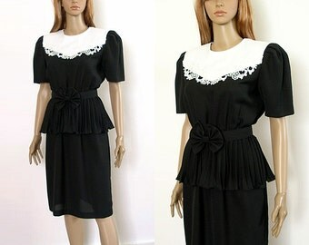 Vintage 1980s Peplum Dress Black with White Lace Modest Dress / Medium