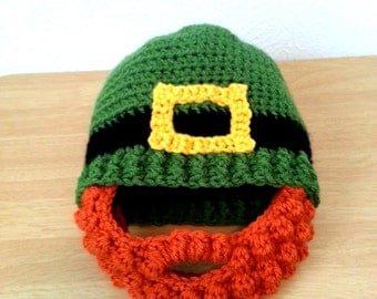 Leprechaun Beard Hat Baby to Adult Size, Crochet Green St. Patrick's Day Hat, Red Bearded Beanie, Made to Order Crochet Hat