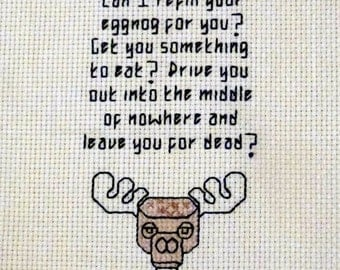 Clark Griswold eggnog rant cross stitch pattern Christmas Vacation