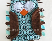Alexander Henry Hollywood OWL Baby Blankie Turquoise Blue, Orange and Chocolate Brown Minky Dots Ribbon Tags and Teething Ring Baby Gift