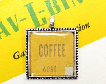 Coffee Auto Car Bingo Pendant Necklace Vintage 1950s Word Image Key Ring