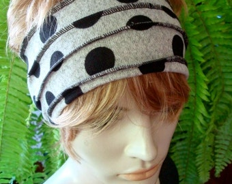 Womens Headband Grey black spot Extra wide Cotton Lycra  Head Wrap  WorkoutBand  with  Stitching