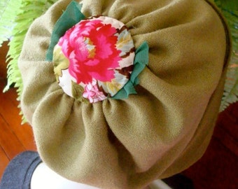 Reversible Pashmina Slouchy Hat Chemo Olive green with hand stitched crown ooak