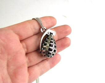 hand grenade necklace . 3d grenade on long chain . mens necklace