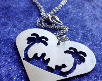 Beach Scene Necklace Key Chain or Pendant, Stainless Steel, Made in USA