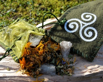 Handmade Celtic and Pagan bag with herbs and crystals